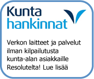 Resolutelta kunta-alan asiakkaille laitteet ja palvelut ilman kilpailutusta. 